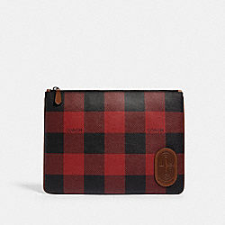 COACH C1498 Large Pouch With Buffalo Plaid Print QB/RED MULTI