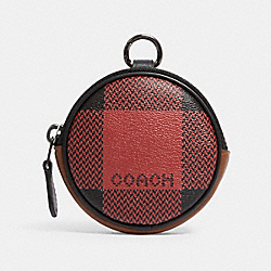 COACH C1508 - ROUND COIN CASE WITH BUFFALO PLAID PRINT QB/RED MULTI