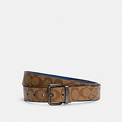 ROLLER BUCKLE CUT-TO-SIZE REVERSIBLE BELT, 38MM - C1509 - QB/KHAKI TRUE BLUE MULTI