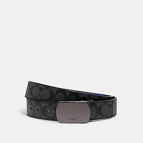 COACH C1512 BOXED SIGNATURE AND HARNESS BUCKLE CUT-TO-SIZE REVERSIBLE BELT, 38MM QB/CHARCOAL SPORT BLUE