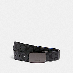 COACH C1512 - BOXED SIGNATURE AND HARNESS BUCKLE CUT-TO-SIZE REVERSIBLE BELT, 38MM QB/CHARCOAL SPORT BLUE