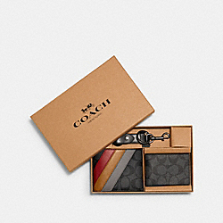 COACH C1515 - BOXED 3-IN-1 WALLET GIFT SET IN SIGNATURE CANVAS WITH DIAGONAL STRIPE PRINT QB/CHARCOAL MULTI