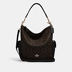 COACH C1523 - PENNIE SHOULDER BAG IN SIGNATURE CANVAS IM/BROWN BLACK