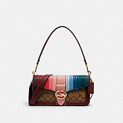 GEORGIE SHOULDER BAG IN SIGNATURE CANVAS WITH RAINBOW LINEAR QUILTING - C1530 - IM/KHAKI/CANDY PINK MULTI