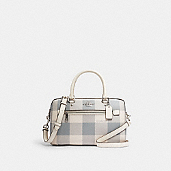 ROWAN SATCHEL WITH BUFFALO PLAID PRINT - C1552 - SV/CHALK MULTI