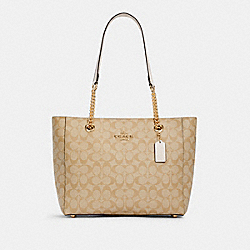 MARLIE TOTE IN SIGNATURE CANVAS - C1565 - IM/LIGHT KHAKI CHALK
