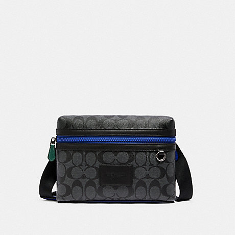 COACH C1597 SMALL CARRIER CROSSBODY IN COLORBLOCK SIGNATURE CANVAS QB/CHARCOAL MULTI