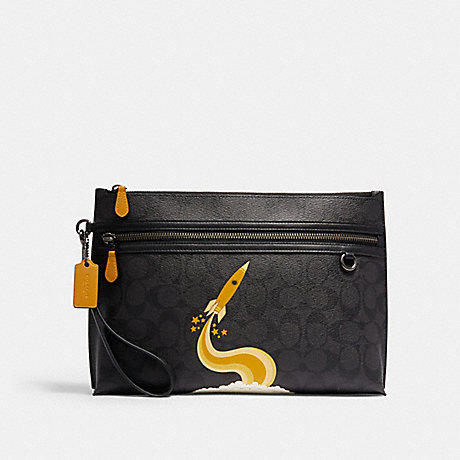 COACH C1604 CARRYALL POUCH IN SIGNATURE CANVAS WITH TRIUMPH MOTIF QB/BLACK YELLOW