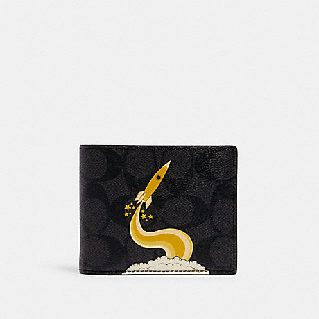 COACH C1605 3-IN-1 WALLET IN SIGNATURE CANVAS WITH TRIUMPH MOTIF QB/BLACK YELLOW
