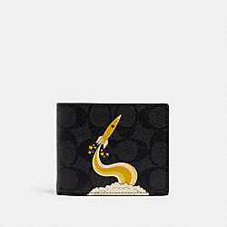 COACH C1605 - 3-IN-1 WALLET IN SIGNATURE CANVAS WITH TRIUMPH MOTIF QB/BLACK YELLOW