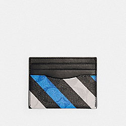 COACH C1608 Slim Card Case In Signature Canvas With Diagonal Stripe Print QB/BLUE MULTI