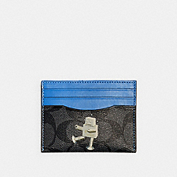 COACH C1611 Slim Card Case In Signature Canvas With Robot QB/CHARCOAL MULTI