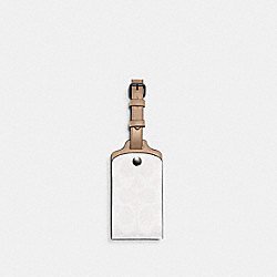 LUGGAGE TAG IN SIGNATURE CANVAS - QB/CHALK - COACH C1614