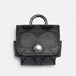 COACH C1618 - EARBUD CASE IN SIGNATURE CANVAS QB/CHARCOAL