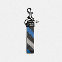 COACH C1619 Large Loop Key Fob In Signature Canvas With Diagonal Stripe Print QB/BLUE MULTI