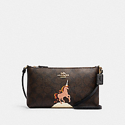 ZIP TOP CROSSBODY IN SIGNATURE CANVAS WITH UNICORN - C1654 - IM/BROWN BLACK MULTI
