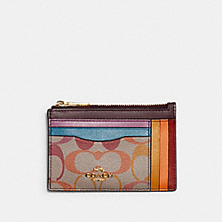 COACH C1655 Xl Mini Skinny Id Case In Rainbow Signature Canvas IM/KHAKI MULTI
