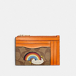 COACH C1656 Xl Mini Skinny Id Case In Signature Canvas With Rainbow IM/KHAKI MULTI