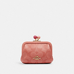 COACH C1708 Nora Kisslock Card Case In Signature Canvas IM/CANDY PINK