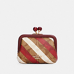 COACH C1709 Nora Kisslock Card Case In Signature Canvas With Diagonal Stripe Print IM/KHAKI MULTI