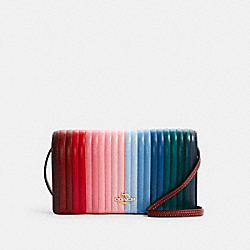 ANNA FOLDOVER CROSSBODY CLUTCH WITH RAINBOW LINEAR QUILTING - C1711 - IM/CANDY PINK MULTI
