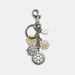 SNOWFLAKE CLUSTER BAG CHARM - C1742 - SILVER MULTI