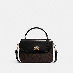 COACH C1765 - MARLIE TOP HANDLE SATCHEL IN SIGNATURE CANVAS IM/BROWN BLACK