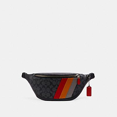 ワーレン ベルト バッグ シグネチャー キャンバス ウィズ ダイアゴナル ストライプ