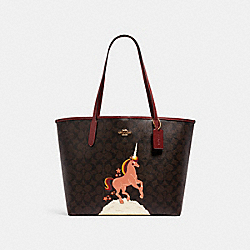 CITY TOTE IN SIGNATURE CANVAS WITH UNICORN - C1780 - IM/BROWN BLACK MULTI