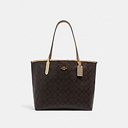 CITY TOTE IN SIGNATURE CANVAS - C1781 - IM/BROWN/METALLIC PALE GOLD