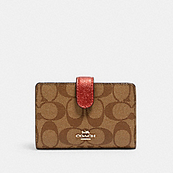 COACH C1828 Medium Corner Zip Wallet In Signature Canvas IM/METALLIC CLAY