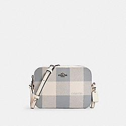 MINI CAMERA BAG WITH BUFFALO PLAID PRINT - C1833 - SV/CHALK MULTI