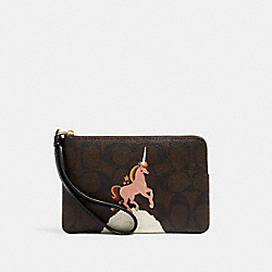 COACH C1870 Corner Zip Wristlet In Signature Canvas With Unicorn IM/BROWN BLACK MULTI