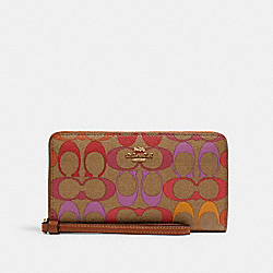COACH C1872 Large Phone Wallet In Rainbow Signature Canvas IM/KHAKI MULTI