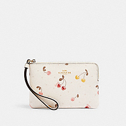 COACH C1893 Corner Zip Wristlet With Painted Cherry Print IM/CHALK MULTI