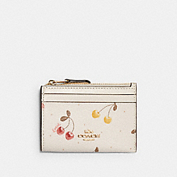 COACH C1897 Mini Skinny Id Case With Painted Cherry Print IM/CHALK MULTI