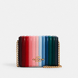 COACH C1901 - MINI WALLET ON A CHAIN WITH RAINBOW LINEAR QUILTING IM/CANDY PINK MULTI