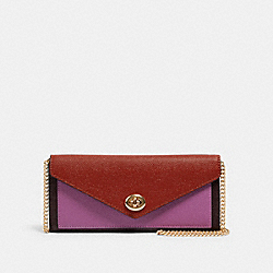 COACH C1909 - SLIM ENVELOPE WALLET WITH CHAIN IN COLORBLOCK IM/TERRACOTTA/YELLOW MULTI