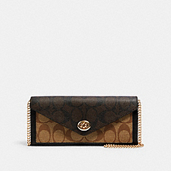 COACH C1910 Slim Envelope Wallet With Chain In Blocked Signature Canvas IM/KHAKI BROWN MULTI
