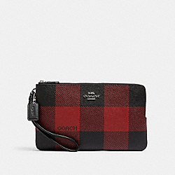 COACH C1915 - DOUBLE ZIP WALLET WITH BUFFALO PLAID PRINT SV/BLACK/1941 RED MULTI