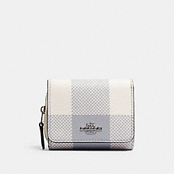 COACH C1916 Small Trifold Wallet With Buffalo Plaid Print SV/CHALK MULTI