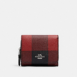 COACH C1916 Small Trifold Wallet With Buffalo Plaid Print SV/BLACK/1941 RED MULTI