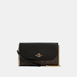GEMMA CLUTCH CROSSBODY IN SIGNATURE CANVAS - C1996 - IM/BROWN BLACK