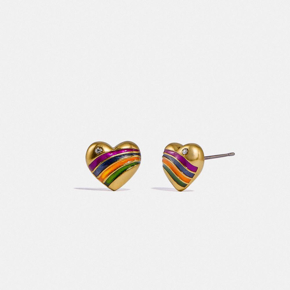 彩虹心形飾釘耳環