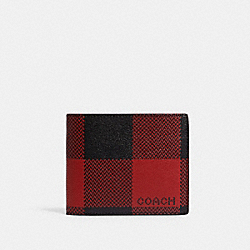 COACH C2016 3-in-1 Wallet With Buffalo Plaid Print QB/RED MULTI