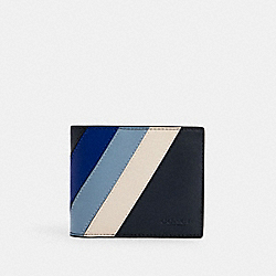 COACH C2026 3-in-1 Wallet With Diagonal Stripe QB/MIDNIGHT/SPORT BLUE MULTI