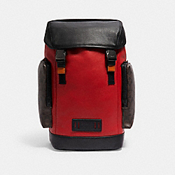 COACH C2058 Ranger Backpack In Colorblock Signature Canvas QB/MAHOGANY/1941 RED MULTI