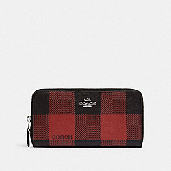 COACH C2135 Accordion Zip Wallet With Buffalo Plaid Print SV/BLACK/1941 RED MULTI