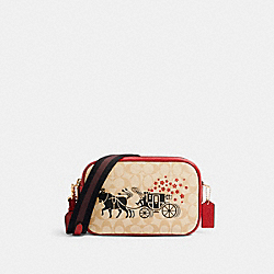 LUNAR NEW YEAR JES CROSSBODY IN SIGNATURE CANVAS WITH OX AND CARRIAGE - C2180 - IM/LIGHT KHAKI MULTI