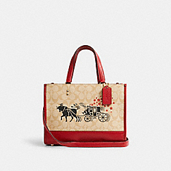 LUNAR NEW YEAR DEMPSEY CARRYALL IN SIGNATURE CANVAS WITH OX AND CARRIAGE - C2181 - IM/LIGHT KHAKI MULTI